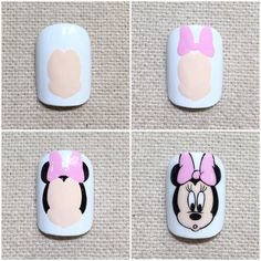 Cartoon Nail Designs, Nail Art Designs Videos, Cute Nail Art Designs, Mickey Mouse Nail Art, Mickey Nails, College Nails, Panda Nail Art, Disneyland Nails, Picasso Nails