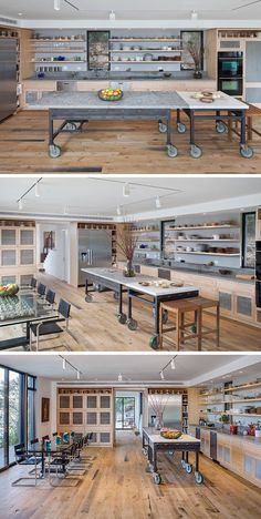 Two separate movable tables can be positioned together to make the layout of industrial style kitchen island customizable.