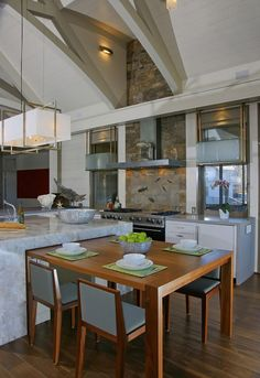 West Chop Residence Kitchen - contemporary - kitchen - boston - by Martha's  Vineyard Interior Design. Table Island ...