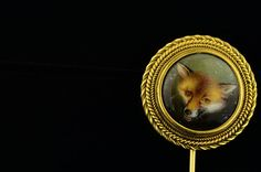Victorian hand painted enamel fox stick pin by AntiqueVelvetGloves