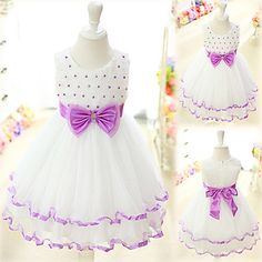 Knee-length Sleeveless Organza Kid's Lolita Dress With Bow and Lace (Length: 69cm, Chest: 64cm) - USD $ 69.99