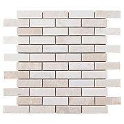 Guest bath.  Floor & Decor. Ice Beige Brick Marble Mosaic