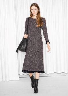 & Other Stories Bouclé Dress in Dark Red