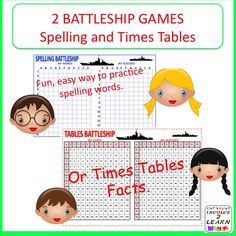 "Two versions of the game BATTLESHIP, which will make learning and memorising facts more fun! I've used these games with students aged 5 years to 12 years, and no child has ever complained about having to play. In fact, they have become a popular ""rainy day"" lunchtime activity. They've asked to borrow them for practice at home. It is a simple, competitive game, which students quickly learn to play independently. Playing in pairs encourages students to talk about their learning and I believe…"