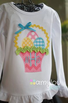Easter🐰Easter Basket Monogram Toddler Tee Shirt-Short or Long Sleeves via Etsy Monogram Shirts, Embroidery Monogram, Machine Embroidery Applique, Sewing For Kids, Baby Sewing, Applique Designs, Embroidery Designs, Applique Ideas, Easter Outfit