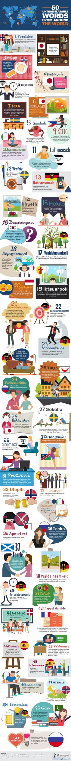 #infographic 50 untranslatable words from around the world