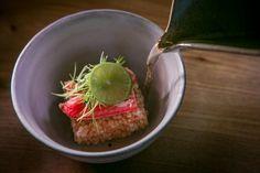 """Warm Dish"" w/ Zuwai Gani Crab and Hokkaido kondu dash broth at Kusakabe  in SF"