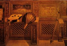 """Federico commissioned a """"studiolo"""", meditation room or study, which contains some of the most accomplished tromp l'oeil wood inlay on earth. The studiolo is in the castle at Gubbio, Federico's home town. Worth the trip!"""
