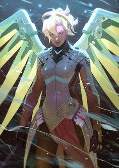 Overwatch - Mercy by Nesskain, Digital Painting, Overwatch Fan Art, Illustration, Gaming, Retro Gaming, Inspirational Art