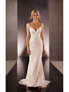 Beautiful Empire V-neck Cap sleeve Sheath/Column Sweep/Brush Train Beaded Tulle Wedding Dresses