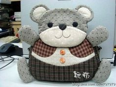 Little Bear Purse Japanese Patchwork, Japanese Bag, Patchwork Bags, Quilted Bag, Felt Animal Patterns, Stuffed Animal Patterns, Patch Quilt, Applique Quilts, Animal Bag