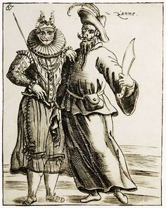 """Pietro Bertelli - """"Zanne Maschere"""" - engraving (1642) - Typical feature of the Zanni: poor, desperate, ignorant but smart in his own way, everybody makes fun of him. In a second period he gets his revenge, though, and outsmarts many. He's constantly hungry, and constantly exploited, the primo Zanni is smart the second Zanni hopelessly stupid. Zanni is friend / antagonist of Harlequin, of which he shares not only the roots, but the basic needs, food and lack of nobility."""
