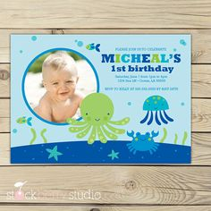 Under The Sea Invitation - Boy Birthday Party Printable - Ocean Birthday Invtation - Pool Party Invite - Blue, Green and Aqua Blue