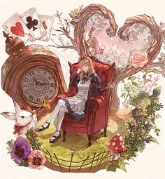 Alice_in_Wonderland alice_ (país de las maravillas) sillón blonde_hair conejito tarjetas cheshire_cat reloj crossed_legs taza flor hairband highres instrumento long_hair mary_janes hongo pensamiento pink_rose playing_card rosa zapatos sentado tanukiudon-umai trompeta taza de té