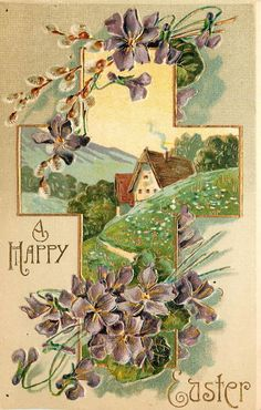 ♥ A Happy Easter ... a violet cross with a cpounty scene.
