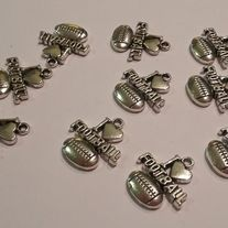 FOOTBALL CHARMS  TIBET AN SILVER LOT OF 10