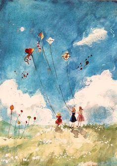 Latawce by rarazet on DeviantArt Painting Inspiration, Art Inspo, Go Fly A Kite, Kite Flying, Guache, Whimsical Art, Cute Illustration, Cute Art, Watercolor Paintings