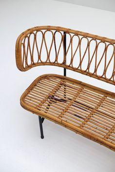 Rattan settee from Dirk van Sliedregt 1956 - City-furniture.be Design City Furniture, Wicker Furniture, Furniture Design, Outdoor Furniture, Outdoor Decor, Settee, Rattan, Bamboo, Mid Century