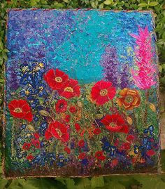 Red Poppies Handmade OOAK Fiber Art Quilt by StitchyTreasures
