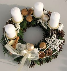 Classy advent wreath in white / Seller's item Moana floristry Christmas Advent Wreath, Handmade Christmas Decorations, Xmas Wreaths, Christmas Mood, Christmas Candles, Noel Christmas, Christmas Centerpieces, Pink Christmas, Xmas Decorations