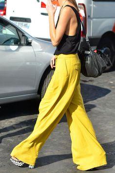 Lemon linen slacks, fantastic weekend look. Offset perfectly by monochrome accessories.