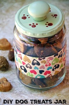 Need an easy and inexpensive way to store dog treats? Make this upcycled dog treats jar and keep Fido's treats nice and fresh!