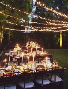 Romantic outdoor candlelit gold and maroon wedding reception decor; Featured Event Design: Très Chic Affairs