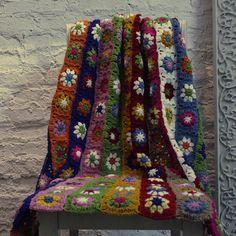 Crocheted-font-b-blanket-b-font-battaniye-Daisy-hot-selling-handmade-hook-needle-rustic-flower-font. Granny Square Crochet Pattern, Crochet Patterns, Rustic Flowers, Bohemian Rug, Daisy, Rugs, Blankets, Handmade, Ideas