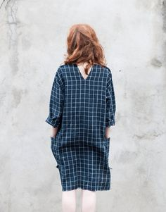 Navy checked womens linen dress with long sleeves and pockets