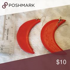 BOGO Red Moon earrings Lightweight wooden earrings. Adorable! Buy this item to get a free pair of wooden earrings! Jewelry Earrings