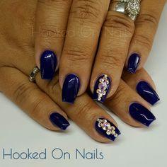 Electric blue nails swarovski crystals madam glam gel