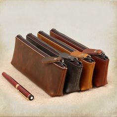 Cheap leather pen bag, Buy Quality pen bag directly from China pen case Suppliers: Fashion Business Style Leather Pen Bag Pen Case High Quality Stationery 6 Colors Leather Pencil Case, Leather Case, Leather Gifts, Leather Jewelry, Leather Bag Pattern, Luxury Pens, Pencil Bags, Pen Case, Jewelry Case