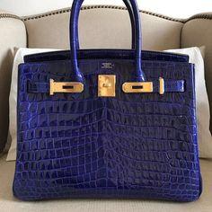 Hermes Birkin, Bleu Electrique Nilo crocodile + gold hardware  |  pinterest: @Blancazh