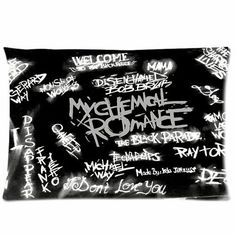 50 budget friendly bedroom ideas: My Chemical Romance pillow Emo Bedroom, Bedroom Decor, Bedroom Ideas, Gothic Bedroom, Romance In Bedroom, Band Rooms, Tranquil Bedroom, Band Merch, Blink 182