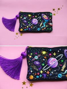 crochetbycalla: sosuperawesome: Embroidered Universe Purses, UFO Pins and Beaded. crochetbycalla: sosuperawesome: Embroidered Universe Purses, UFO Pins and Beaded Jupiter Bag, by Oliness Art Studio on E. Embroidery Bags, Beaded Embroidery, Cross Stitch Embroidery, Embroidery Patterns, Sewing Patterns, Sewing Studio, Ufo, Sewing Projects, Purses