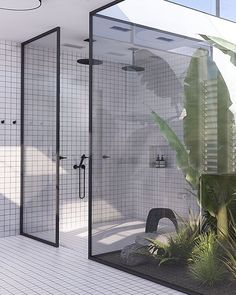 Bathroom by Eleni Psyllaki @myparadissi #bathroom #bathroomdesign #atrium #monochrome #blacktapware #internalgarden #instabathroom #myparadissi #naturallight #greenery #courtyard