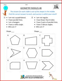Geometry Riddles 4B, geometry riddles for 4th graders