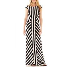 Trulli Cap-Sleeve Striped Maxi Dress