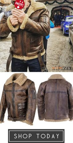 Men's Vintage Leather With Plush Jacket Coat Brown Leather Bomber Jacket, Shearling Jacket, Men's Vintage, Vintage Leather, Gentlemen Wear, Kinds Of Clothes, Cool Jackets, Dance Outfits, Mens Fashion
