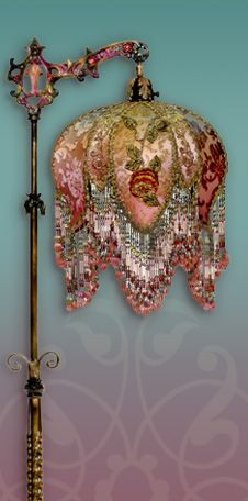 Romantic, bohemian, beaded Victorian lampshade with antique textiles hand made by Nightshades