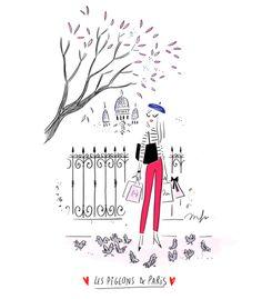 So frenchie 🇨🇵️🐦 Illustration Parisienne, Paris Illustration, Cute Illustration, Character Illustration, Cartoon Girl Drawing, Girl Cartoon, Cartoon Drawings, Cute Drawings, Paris Drawing