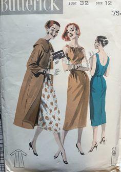 Vintage 1950s-1960s Butterick 8047 Slim Dress and Coat Pattern SIze 12 Bust 32