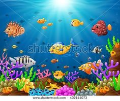 Under the sea Royalty Free Vector Image - VectorStock Under The Sea Images, Free Vector Images, Vector Free, Tropical Fish, Adobe Illustrator, Graphic Design, Quilts, Illustration, Royalty