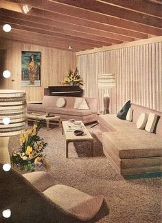 Liking the vertical lines of the drapes and the horizontal lines of the lamp shade. Sixties Home