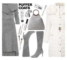 puffer coat by paperdollsq on Polyvore featuring polyvore fashion style Monse Miss Selfridge Cole Haan Michael Kors Bobbi Brown Cosmetics tarte PUR philosophy Christian Dior Urban Decay clothing white Kneehighboots grayboots puffercoats