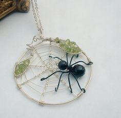 Spider in Web Fantasy Wire Wrap Necklace by flightfancy on Etsy