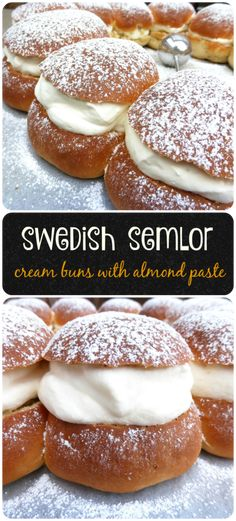 Nadire Atas All Things Nordic Sweden's Favourite Buns: Semlor (with Cardamom and Almond Paste) - delicious, soft sweet bread filled with cream and a cardamom, almond paste. You don't want to miss out on Sweden's finest bake! Easy Desserts, Delicious Desserts, Dessert Recipes, Yummy Food, Small Desserts, Yummy Yummy, Healthy Food, Swedish Recipes, Sweet Recipes