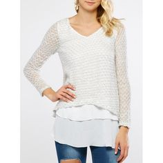 Chiffon Patchwork Knitwear, WHITE, M in Sweaters & Cardigans | DressLily.com