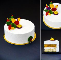 "Entremet ""Exotic Fancy"": lime Crumble; Coconut Dacquoise; Roasted spicy pineapples with passion fruits; coconut mousse."
