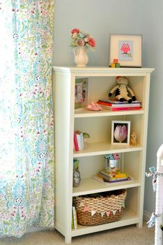 blue green pink nursery... love the paper flowers in a tea kettle vase and the pendant banner on the basket <3